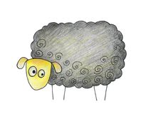 Hand gezeichnete Schafe auf einem weißen Hintergrund Lizenzfreie Stockbilder