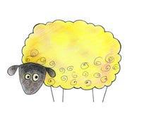 Hand gezeichnete Schafe auf einem weißen Hintergrund lizenzfreies stockbild
