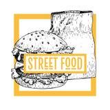 Hand gezeichnete Schnellimbissfahne Straßenlebensmittelbäckerei gestaltete Logo mit Burger und Papiertüte Gravierte Vektorillustr stock abbildung