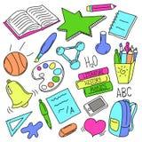 Hand gezeichnete Schulgekritzel Zurück zu Schulbunter Illustration lizenzfreie abbildung