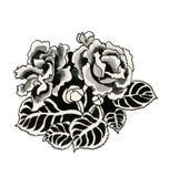 Hand gezeichnete schwarze Rosen Stockbild
