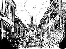 Hand gezeichnete Schwarzweißabbildung einer Stadt Stockfoto