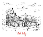 Hand gezeichnete Skizze des italienischen Kolosseums vektor abbildung