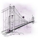 Hand gezeichnete Skizze Golden gate bridges Lizenzfreies Stockfoto