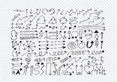 Hand gezeichnete Skizzenpfeilsammlung Lizenzfreies Stockbild