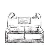 Sofa gezeichnet  Hand Gezeichnete Vektorausgangsinnenraumgekritzel: Couch Vektor ...
