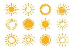 Hand gezeichnete Sonnen Lizenzfreies Stockbild