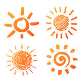 Hand gezeichnete Sonnenikonen Stockfotos