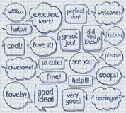 Hand gezeichnete Sprache-Blasen auf Notizbuch-Blatt Lizenzfreies Stockbild