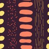 Hand gezeichnete Streifen und Stellen-nahtloses Vektor-Muster Stockbild