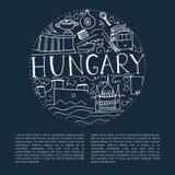 Hand gezeichnete Symbole von Ungarn lizenzfreie abbildung