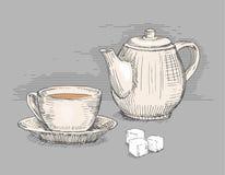 Hand gezeichnete Teekanne mit Tasse Tee Stockfoto