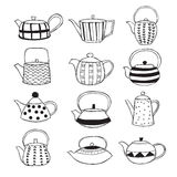 Hand gezeichnete Teekannen Stockbilder