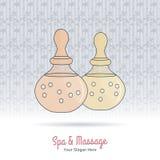 Hand gezeichnete thailändische Massage- und Badekurortgestaltungselemente Stockbilder