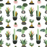 Hand gezeichnete tropische Zimmerpflanzen Skandinavische Artillustration, vector nahtloses Muster für Gewebe, tapezieren oder wic Stockfotografie
