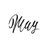 Hand gezeichnete Typografiebeschriftung may Monatsaufschrift Auch im corel abgehobenen Betrag Stockbild