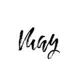 Hand gezeichnete Typografiebeschriftung may Monatsaufschrift Auch im corel abgehobenen Betrag Stockfotografie