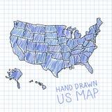 Hand gezeichnete US-Karte Lizenzfreie Stockfotos