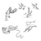 Hand gezeichnete Vögel im Flug Stockfotos