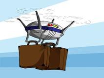 Hand gezeichnete Vektor-Illustration des Fliegen-Brummens mit zwei Koffern Stockfoto