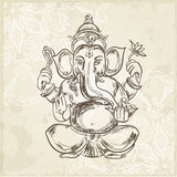 Hand gezeichnete Vektorillustration des Sitzens von Lord Ganesha Stockfoto