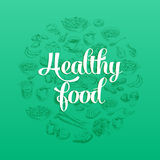 Hand gezeichnete Vektorillustration mit gesundem Lebensmittel Stockbild