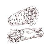 Hand gezeichnete Vektorillustration von doner Kebab Rollen Sie, Hühnerrolle, Schnellimbiß, Kebab, shawarma Lizenzfreies Stockbild