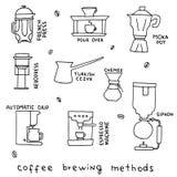 Hand gezeichnete Vektorillustration von Kaffeebrauverfahren Stockbild