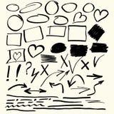 Hand gezeichnete Vektorzusammenfassungselemente Stockbilder