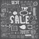 Hand gezeichnete Verkaufsgekritzel Stockbilder