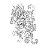 Hand gezeichnete Verzierung mit Blumenmuster Lizenzfreie Stockfotografie