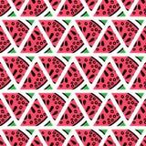 Hand gezeichnete Wassermelone schneidet nahtloses Muster Stockbilder