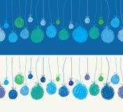 Hand gezeichnete Weihnachtsbälle Nahtloser Vektor Lizenzfreie Stockfotografie