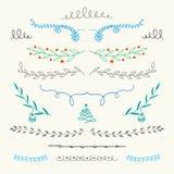 Hand gezeichnete Weihnachtsdekorative Grenzen Lizenzfreies Stockbild