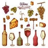 Hand gezeichnete Weinelemente Satz Vektorikonen: Flasche, Käse, Trauben, Weinglas und usw. stock abbildung