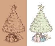 Hand gezeichnete Weinlese Weihnachtsbaumzeichnung Stockbild
