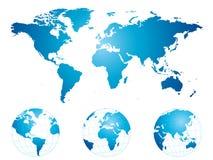 Hand gezeichnete Weltkarte und -kugeln Lizenzfreie Stockfotografie