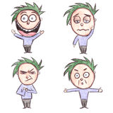 Hand gezeichnete Zeichentrickfilm-Figur mit Mischgefühlen vektor abbildung