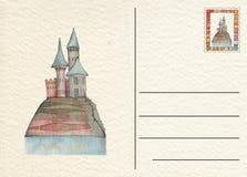 Hand gezeichnete zurück Postkarte mit Schloss Lizenzfreie Stockbilder