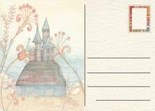 Hand gezeichnete zurück Postkarte mit Schloss Stockfotos