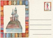 Hand gezeichnete zurück Postkarte mit Schloss Stockfotografie
