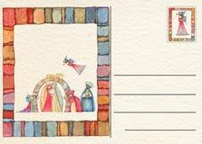 Hand gezeichnete zurück Weihnachtspostkarte Stockfotos