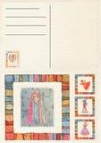 Hand gezeichnete zurück Weihnachtspostkarte Stockbilder
