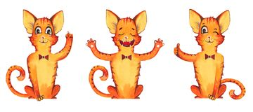 Hand gezeichneter Aquarellillustrationssatz von drei roten Katzen der Karikatur im Bogen mit verschiedenen Gesten Getrennt auf we Stockfotografie