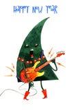 Hand gezeichneter Aquarellkarikatur Weihnachtsbaum, Stockbild
