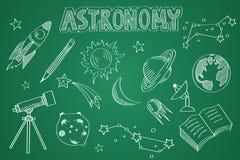 Hand gezeichneter Astronomiesatz Kreide auf der Tafel Lizenzfreies Stockbild