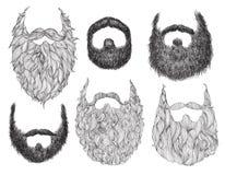 Hand gezeichneter Bart-Satz Stockbilder