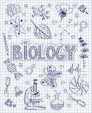 Hand gezeichneter Biologiesatz Lizenzfreies Stockfoto