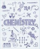 Hand gezeichneter Chemiesatz Lizenzfreies Stockfoto