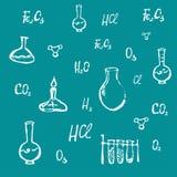 Hand gezeichneter chemischer Hintergrundvektor Lizenzfreies Stockbild